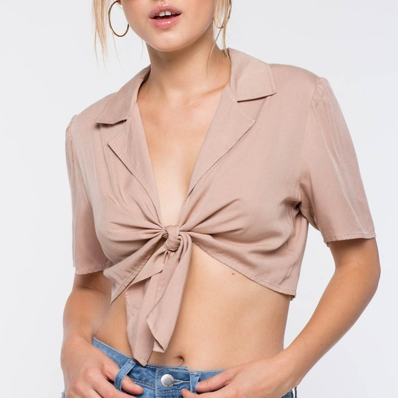 Hers & Mine Tops - New Taupe Tie Waist Short Sleeves Woven Crop Top